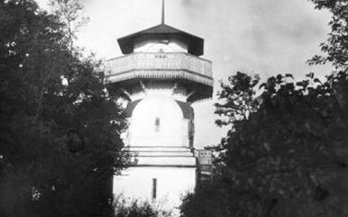 Оглядова вежа на подвір'ї управляючого мошногодищенським маєтком Філіпченка. Городище 1897р.